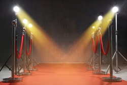 Red carpet, rope barriers and spot lights indoors