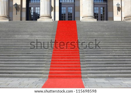 Red carpet stairs, clipping path included