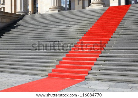 Red carpet stairway, carpet clipping path included