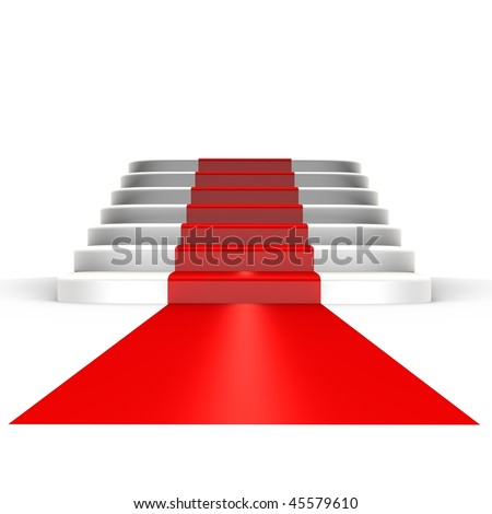 Red carpet to fame - a 3d image - stock photo