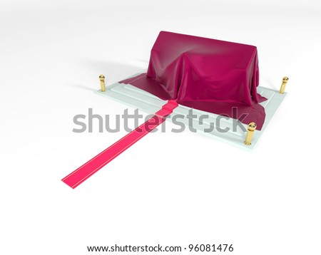 Red carpet to the house covered with a silk fabric