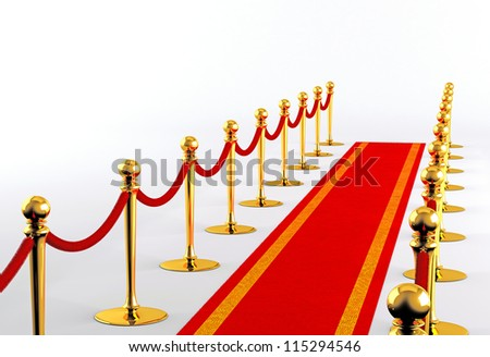 Red carpet with golden fence on a white background