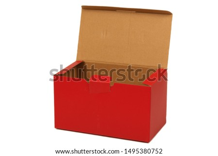 Red cartons on a white background