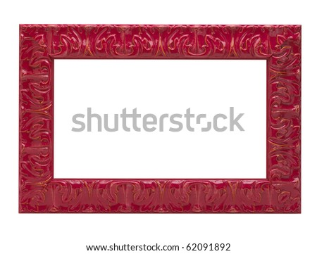 red carved wood picture frame isolated on white background