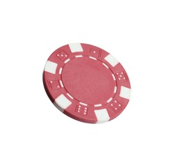 Red casino chip isolated on white. Poker game