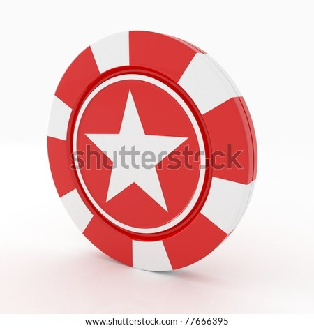 Red Casino Chips  with star on edge on white