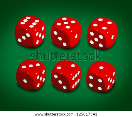 Red casino dice on green background. Clipping path included