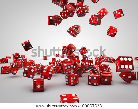 red casino dices falling down on floor