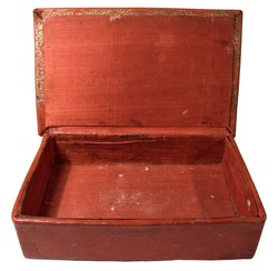 Red casket. Isolated.