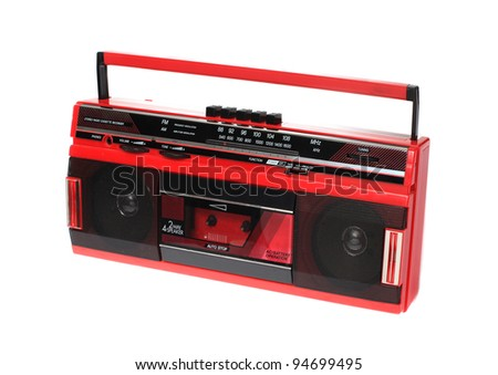 Red Cassette Radio Isolated on White