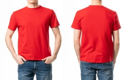 Red casual blank t shirt on man front and back view isolated on white background. Fashion design template
