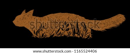 Red Cat in a grass. Graphic feline illustration. Hand drawn ink work. Animalistic design. Can be used as logo, background, prints, desktop wallpaper, etc.