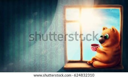 Red cat sitting on the windowsill and drinking tea