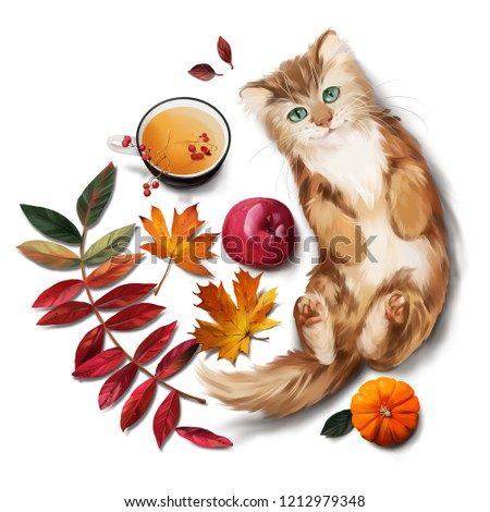 Red cat, tea, apple and autumn leaves. Watercolor painting