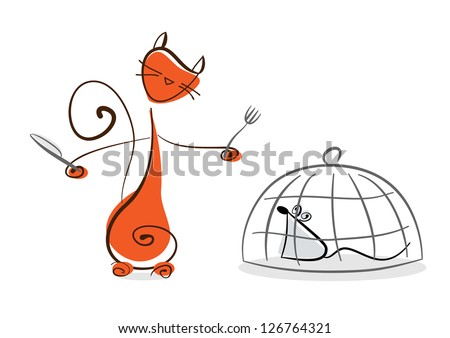 Red cat with knife and fork going to eat prisoned in cage mouse. Raster illustration. Vector file included in portfolio