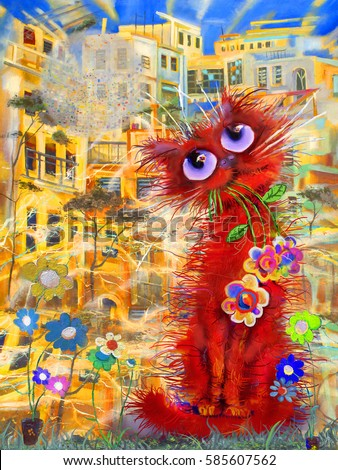Red cat with the flowers in town