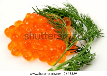 Red caviar from a salmon fish
