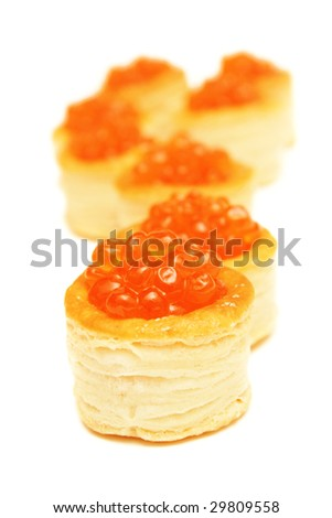 Red caviar in tartlets.