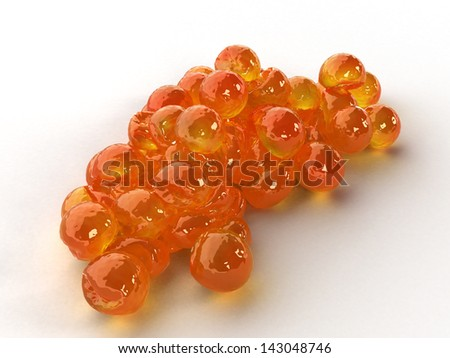 Red caviar on a white background