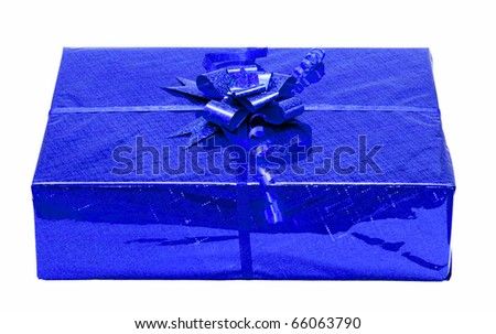 Red celebratory gift box isolated