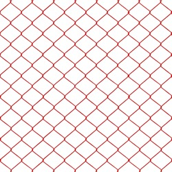 Red chainlink fence seamless on a White background.