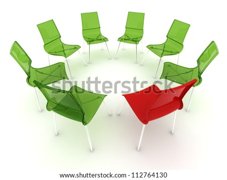 red chair in a circle with transparent green chairs
