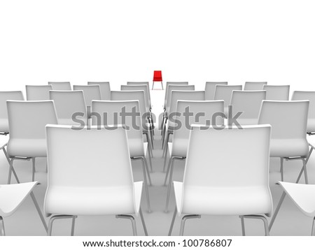 red chair in center with row of white chairs