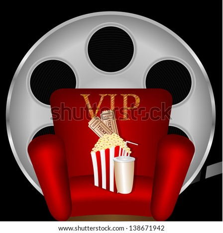 red chair with popcorn and a