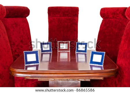 Red Chairs around Table