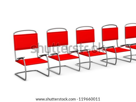 Red chairs in the anteroom on the white background.