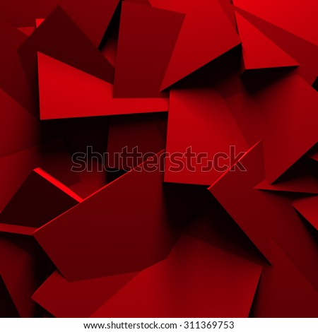 Shutterstock Red Chaotic Cubes Wall Background. 3d Render Illustration