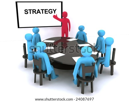 Red characters talking about strategy on meeting.
