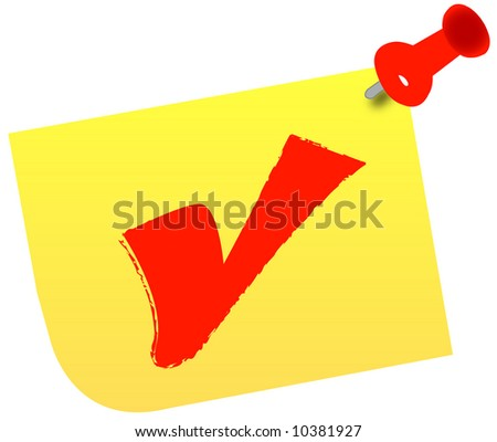 red check mark on thumb tacked note