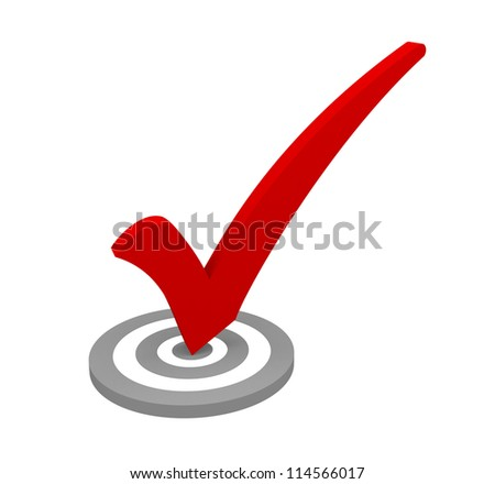 Red check mark on white background