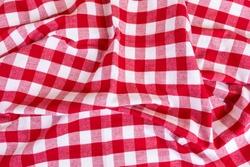 Red checkered gingham kitchen towels top view