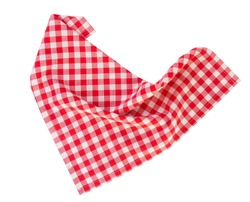 Red checkered picnic clothes isolated.Decorative cotton napkin.