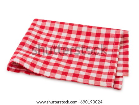 Red checkered picnic clothes isolated.Decorative cotton napkin.Plaid gingham towel.