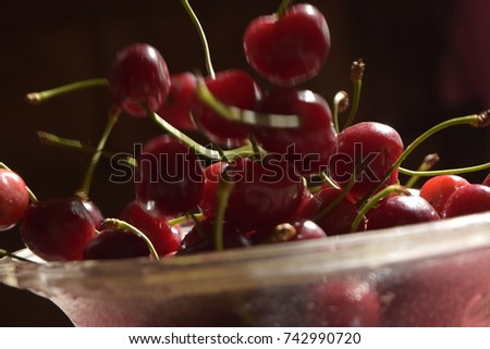 red cherries in a bowl #742990720