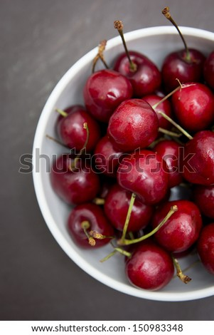 Red cherries in a white bowl