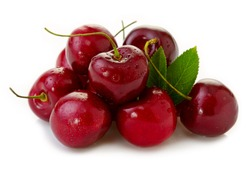 Red Cherries isolated on white.