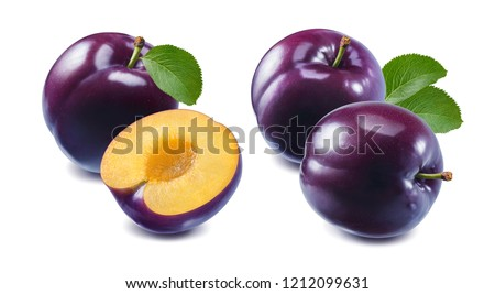 Red cherry plum set isolated on white background. Package design element with clipping path