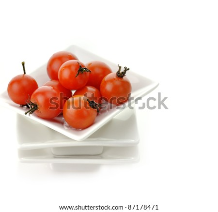 Red Cherry Tomatoes In White Plate