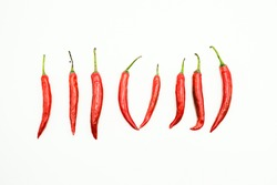 Red Chili or peppers or Capsicums , shots on isolated white background.