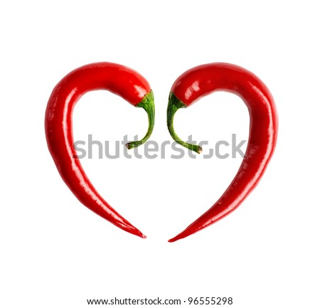 red chili pepper composed in the form of heart + clipping path