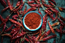 Red chili pepper,dried chillies on dark background. top view