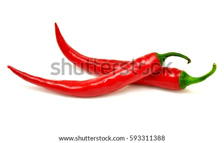 Red chili pepper isolated on a white background. Top view, flat