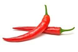 Red chili peppers isolated on a white background. Top view, flat