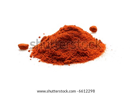 red chili powder isolated on white