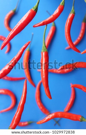 Red chilies on blue #1029972838