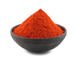 Red Chilli Pepper Powder Also Know as Mirchi, Mirchi Powder, Lal Mirchi, Mirch or Laal Mirchi isolated on White Background